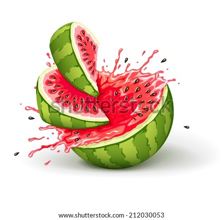 Juicy ripe watermelon cuts with splashes of juice drops. Eps10 vector illustration. Isolated on white background - stock vector