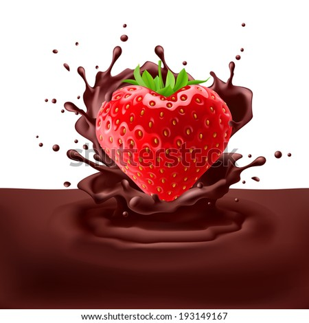 Juicy strawberry heart dipping into chpcolate with splashes - stock vector