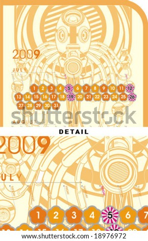 july august september Mount calender format - stock vector