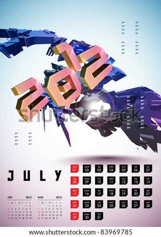 July - Calendar Design 2012 - stock vector