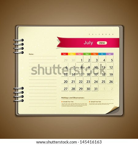 July Calendar diary note paper, vector illustration - stock vector