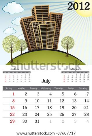 July. 2012 Calendar. Souvenir fonts used. A3 - stock vector
