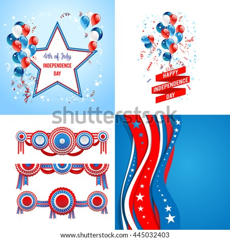 July fourth set. Independence day card. Holiday template for design banner,ticket, leaflet, card, poster and so on. - stock vector