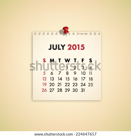 July 2015 Note Paper Calendar Vector - stock vector