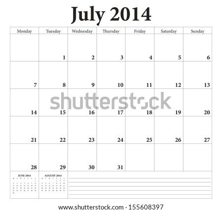 July 2014 -planning calendar. Weeks start on Monday. - stock vector