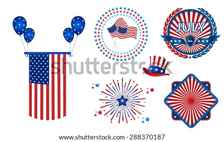 July 4th - Independence Day Elements Pack - stock vector