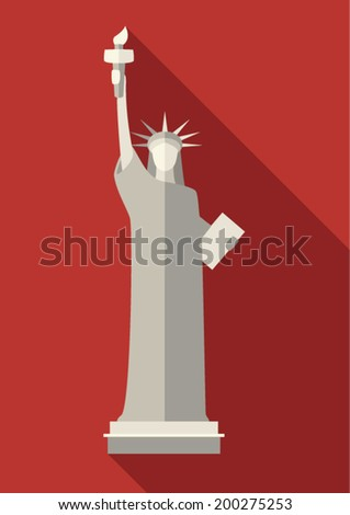 July 4 th, Independence day (statue of Liberty), USA Symbol, vector illustration, flat design poster - stock vector