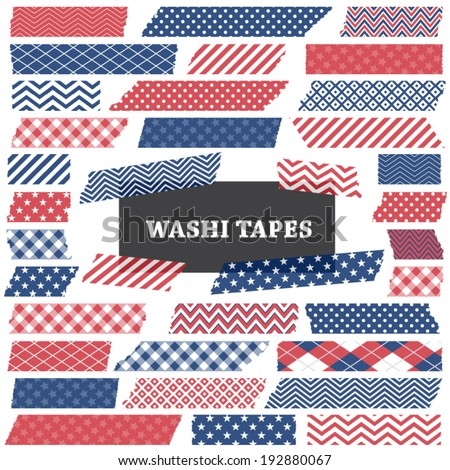 July 4th Patriotic Red, White and Blue Washi Tape Strips with Torn Edges and Different Patterns. Semitransparent. Perfect as Photo Frame Border, Clip Art or Scrapbook Embellishment. Global colors used - stock vector