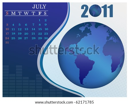 July - the Earth blue calendar for 2011, weeks starts on Sunday. Business Calendar. - stock vector