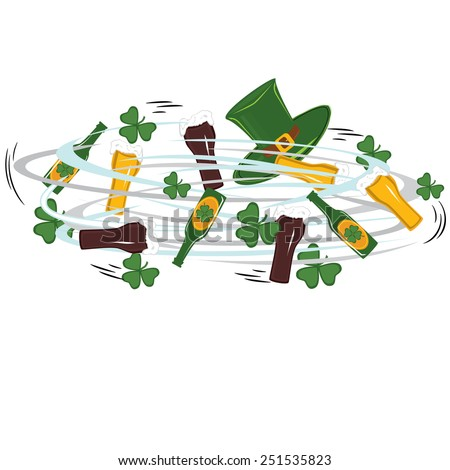 Jumble rotation symbols of Patrick's day - green clover, beer, hat, glass - stock vector