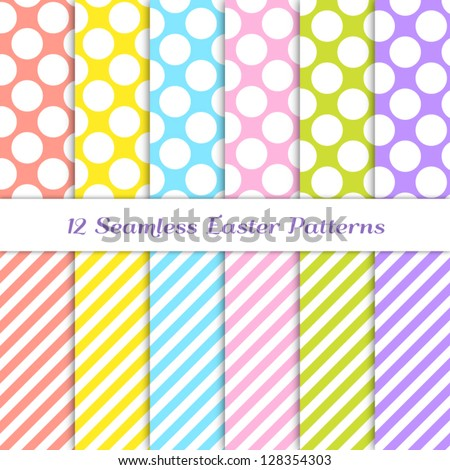 Jumbo Polka Dot and Stripes Patterns in 6 Easter colors: coral, yellow, pink, blue, grass green and purple / violet. Pattern Swatches with Global Colors - easy to change all patterns in one click. - stock vector