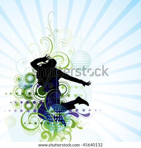 Jump in dream - stock vector