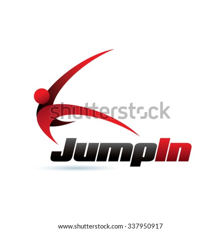 Jump In Icon Logo Elements - stock vector