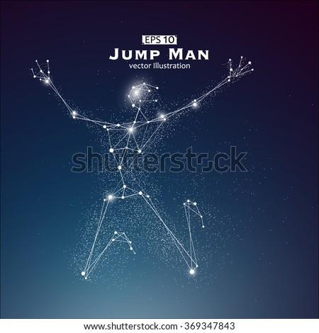 Jump Man, dots and lines connected together, a sense of science and technology vector illustration. - stock vector