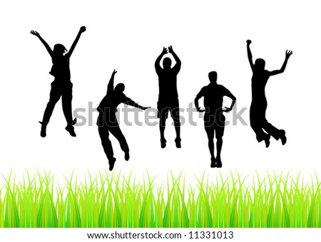 Jump of people - stock vector