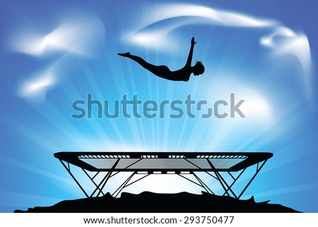 jump on a trampoline - stock vector