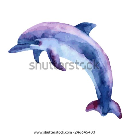 Jumping blue dolphin, watercolor vector illustration. - stock vector