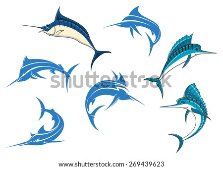 Jumping blue marlins or swordfishes with long thin noses and big dorsal fins isolated on white background for sporting fishing logo or emblems design - stock vector