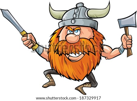 Jumping cartoon viking with sword and axe - stock vector