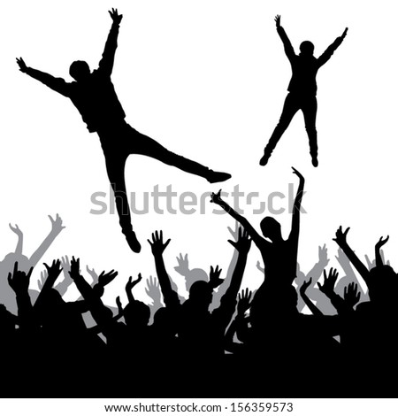 Jumping crowd - stock vector