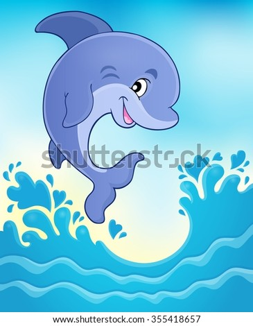 Jumping dolphin theme image 6 - eps10 vector illustration. - stock vector