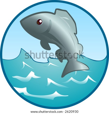 Jumping Fish An illustration of a fish jumping out of the water. - stock vector