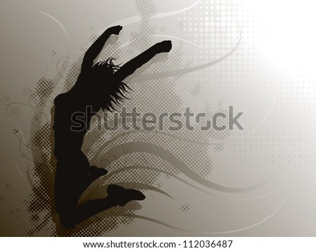 Jumping Girl on grey background - stock vector