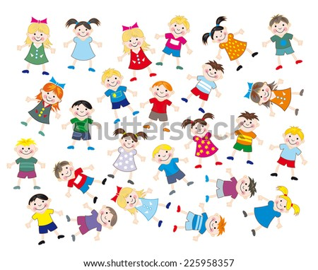 Jumping girls and boys for friendship concept design - stock vector