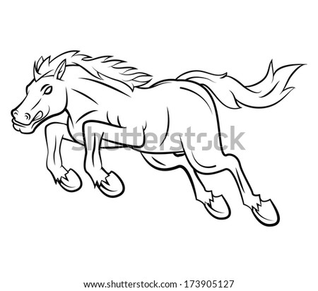 Jumping Horse Vector Illustration - stock vector