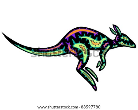 jumping kangaroo - stock vector