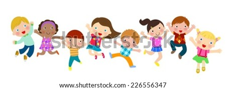 Jumping kids - stock vector