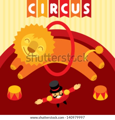 Jumping lion in circus. Animal trainer and lion jumping in circus over the ring. Vector design element and illustration - stock vector