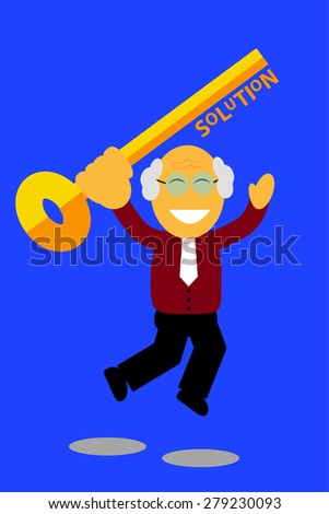 jumping old man holding a key, illustration for finding the solution - stock vector