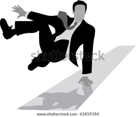 Jumping Outline of a businessman - stock vector