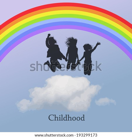 jumping people in the sky with a rainbow.  Childhood. Vector - stock vector