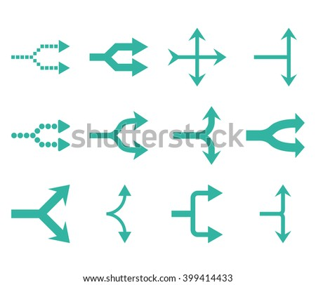 Junction Arrows Right vector icon set. Collection style is cyan flat symbols on a white background. - stock vector