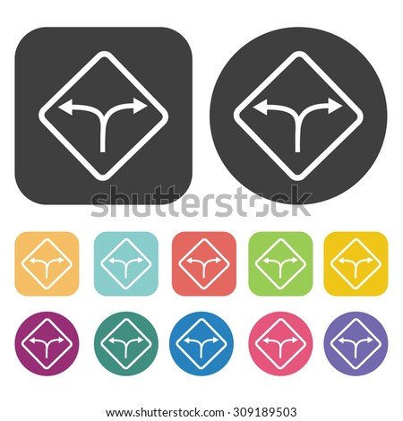 Junction road sign icons set. Vector Illustration eps10