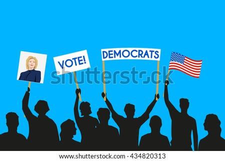 June 5, 2016: A vector illustration of electorate and voters of the Democratic Party and Hillary Clinton - stock vector