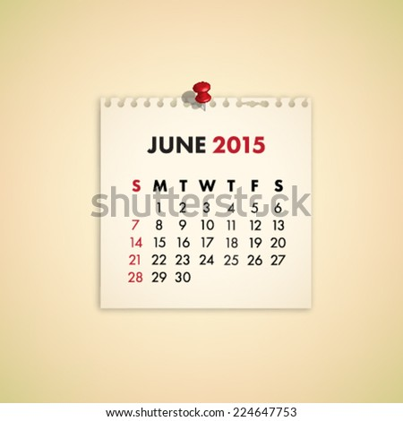 June 2015 Note Paper Calendar Vector - stock vector