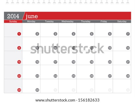 june 2014 planning calendar - stock vector