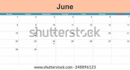 June 2015 planning calendar. Illustration - stock vector