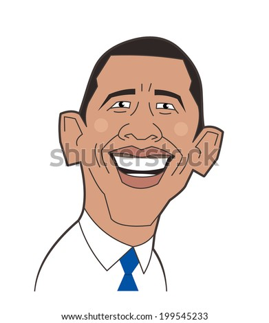 June 20, 2014: Vector illustration of a portrait of President Obama - stock vector