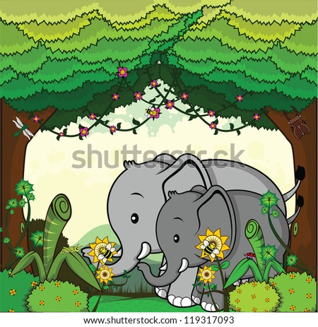 jungle animal safari - stock vector