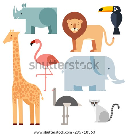Jungle animals icons set  isolated on a white background. Vector illustration of cute animal set including lion, giraffe, rhino, elephant, toucan, lemur, ostrich and flamingo. - stock vector