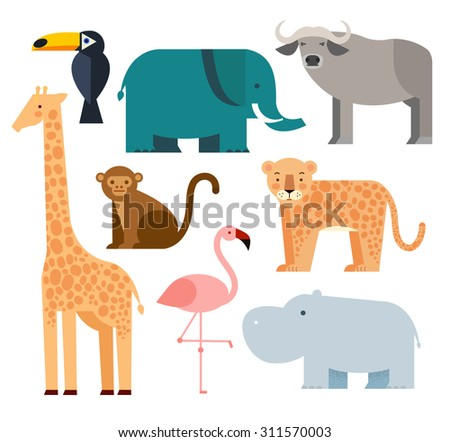 Jungle animals icons set  isolated on a white background. Vector illustration of cute animal set including monkey, giraffe, buffalo, elephant, toucan, leopard, hippopotamus and flamingo. - stock vector