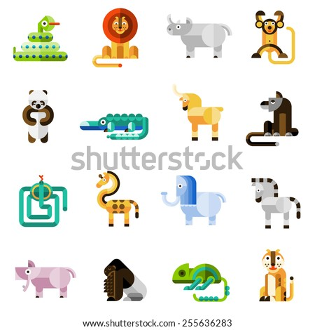 Jungle animals set with snake lion monkey panda bear isolated vector illustration - stock vector