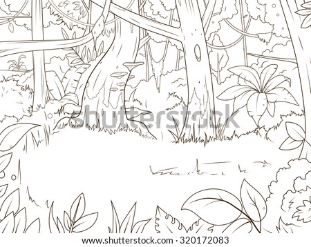 Jungle forest cartoon coloring book vector illustration - stock vector