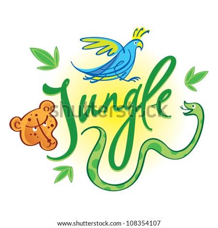 Jungle inscription nature forrest animals leopard jaguar parrot snake - stock vector