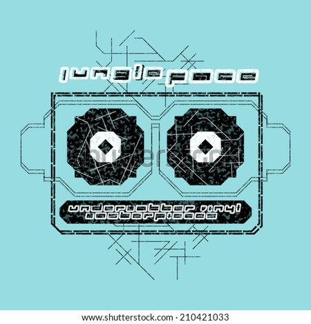 Jungle music t-shirt illustration / Noise effect in separate layer / Can be applied on any color textile - stock vector