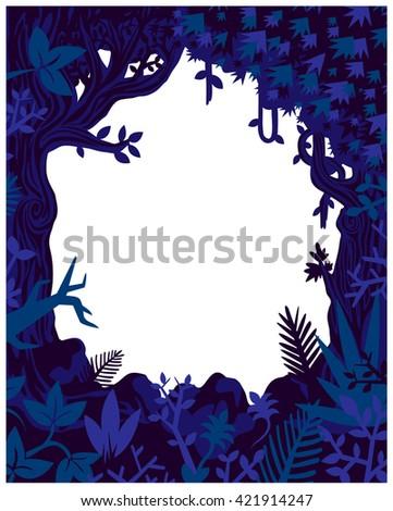 Jungle plants and vegetation vector frame, flyer mock-up template wild nature flat design illustration - stock vector